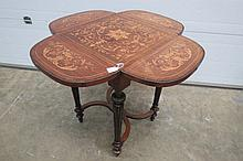 A superb drop leaf four fold marquetry inlaid
