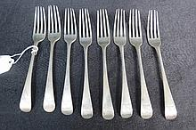 HM silver, eight Old English pattern dessert forks