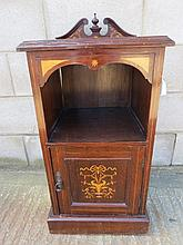 A mahogany inlaid bedside table with swan neck