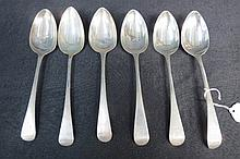 HM silver Old English pattern table spoons, London