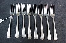 HM silver Old English pattern table forks (eight