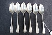 HM silver, six Old English pattern dessert spoons,