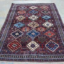 A Yallameh rug 230x170 purple, diamond design.