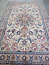 A traditional style Kashan rug, blue and sable