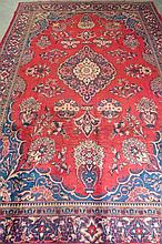 A Mahal traditional style rug in red and blue