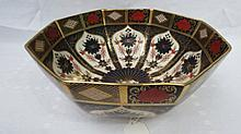 An octagonal Royal Crown Derby bowl, decorated in