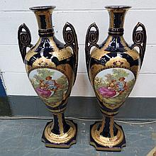 A pair of large and impressive cobalt blue and