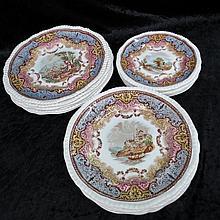 A set of eighteen Copeland late Spode plates, six