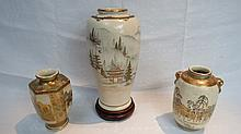 An elegant Japanese satsuma baluster vase of Meiji
