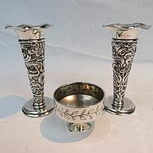 An HM silver pair of small art nouveau flared top