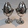A near pair of silver plated table lamp bases