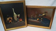 M. Morgan. Still life with bottle and fruit, also