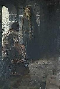 [ Illustration ] Arthur E. Becher 1877-1960 Book illustration: Knight speaking to maiden in castle's tower.