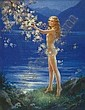 Mabel Rollins Harris Calendar illustration: Nude woman pausing by flowering tree at lakeside. pastel on canvas, 29 x 22in. signed lr, Mabel Rollins Harris, Click for value