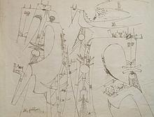Wifredo Lam Untitled Ink on Paper