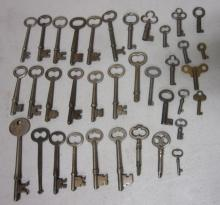 36 ANTIQUE SKELETON KEYS MOSTLY BARREL TYPE