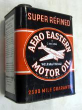 VINTAGE 2-GALLON AERO OIL CAN AIRPLANE GRAPHICS