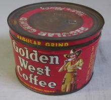 VINTAGE GOLDEN WEST COFFEE 1 LB. TIN WITH LID COWGIRL GRAPHICS