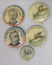 5 SPANISH-AMERICAN WAR PINBACK BUTTONS SCHLEY U.S.S. IOWA NEW YORK