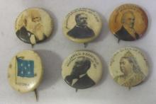 6 CIRCA-1900 US PRESIDENTS QUEEN VICTORIA ETC. PINBACK BUTTONS