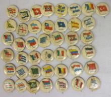 43 ANTIQUE SWEET CAPORAL CIGARETTES WORLD FLAGS COUNTRIES PINBACK BUTTONS