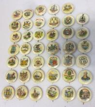 40 ANTIQUE SWEET CAPORAL CIGARETTES US STATE FLAGS PINBACK BUTTONS