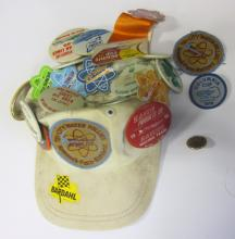 BASEBALL CAP WITH VINTAGE HYDROPLANE RACING PINS ATOMIC CUP ETC.