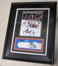 1980 USA HOCKEY TEAM MIRACLE ON ICE FRAMED TICKET FEBRUARY 24TH