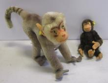 2 VINTAGE STEIFF MONKEYS COCO BABOON + SMALL MONKEY BOTH WITH TAGS
