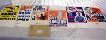 6 RARE 1930'S JAZZ BIG BAND CONCERT SAMPLE POSTERS DUKE ELLINGTON MORE NOS