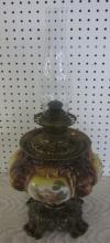 ANTIQUE LIONS HEAD HAND PAINTED GONE WITH WIND STYLE OIL LAMP