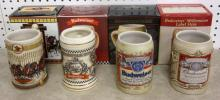 FOUR BUDWEISER STEINS INDY 500 + MILLENIUM + CLYDESDALE HITCH+