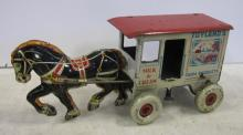 VINTAGE MARX TIN WIND-UP TOYLAND'S FARM PRODUCTS MILK WAGON