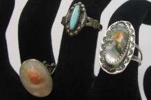 THREE VINTAGE STERLING SILVER RINGS CORAL MOTHER OF PEARL TURQUOISE