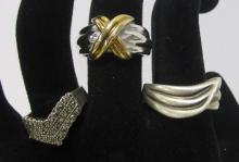 THREE VINTAGE STERLING SILVER RINGS MARCASITE TWO ARE MENS