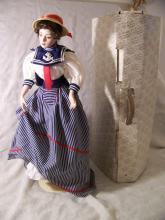 FRANKLIN HEIRLOOM GIBSON GIRL DAY AT THE BEACH PORCELAIN DOLL W/ BOX CERTIFICATE + 22