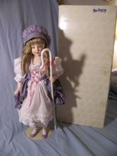 FRANKLIN MINT HEIRLOOM BO PEEP PORCELAIN COLLECTOR DOLL W/ STAFF AND HAT 16