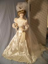 FRANKLIN MINT HEIRLOOM GIBSON GIRL BRIDGE PORCELAIN COLLECTOR DOLL WITH BOX 23