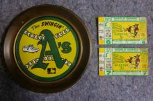1973 OAKLAND A'S WORLD SERIES TICKET STUBS GAME 6 7 PLUS PIN