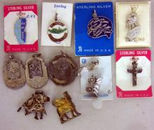 11 VINTAGE STERLING SILVER CHARMS & STERLING SPORTS MEDALS ETC