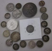 LOT ASSORTED FOREIGN SILVER CONTENT COINS CANADA MEXICO ETC