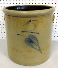 ANTIQUE 5 GALLON RED WING SALT GLAZE BIRCH LEAF CROCK