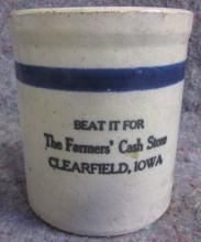 ANTIQUE RED WING STONEWARE CLEARFIELD IOWA STORE ADVERTISING BEATER JAR