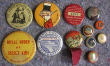 12 ORIGINAL EARLY 1900'S PINBACK BUTTONS FARMERS WIFE PONY CLUB BICYCLE ETC