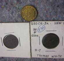 3 CIVIL WAR ERA NEW YORK TRADE TOKENS 2X 1863 DAVID WHITE + SEITER'S