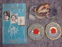 DAVENPORT HOTEL SPOKANE 1932 NEW YEARS MENU FISHING BROCHURE 2 LUGGAGE DECALS