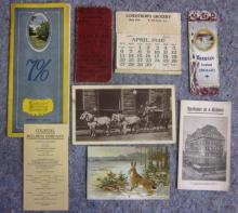 7 PC EARLY 1900'S SPOKANE EPHEMERA LOT POSTCARD TRADE CARD BOOKMARK BROCHURES ETC