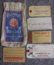 RARE SPOKANE ROUNDUP GROCERY SALT BAG + 5 SPOKANE CREAM CAN TAGS
