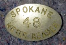 ANTIQUE SPOKANE METER READER 48 CITY EMPLOYEE BADGE