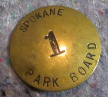 RARE EARLY 1900'S SPOKANE PARK BOARD #1 BRASS BADGE